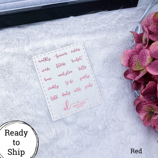 Red Clear Mini Heading Stickers - Cursive - Ready to Ship