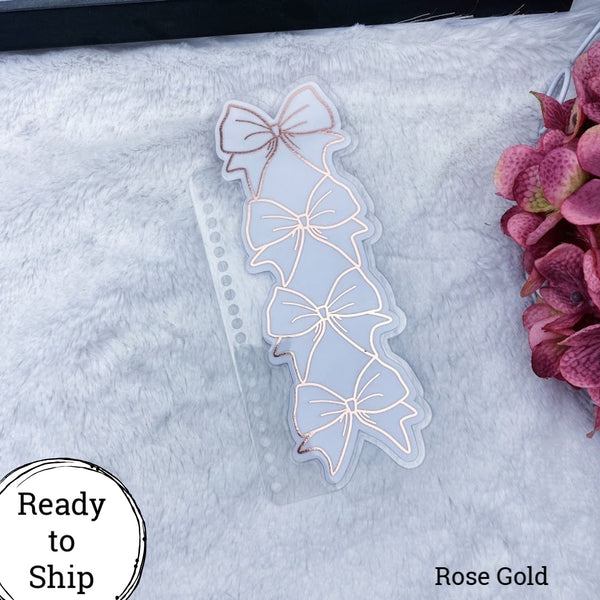 Spiral Bound Rose Gold Stacked Bow Planner Tab - Ready to Ship