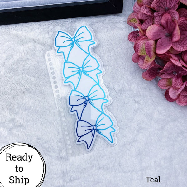 Spiral Bound Teal Stacked Bow Planner Tab - Ready to Ship