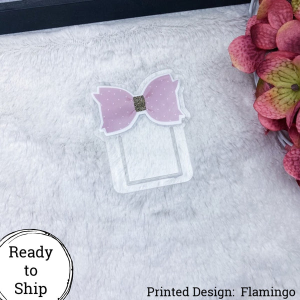Flamingo Bow Planner Clip - Ready to Ship