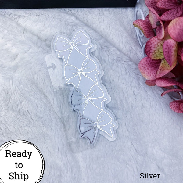 Micro Discs Silver Stacked Bow Planner Tab - Ready to Ship