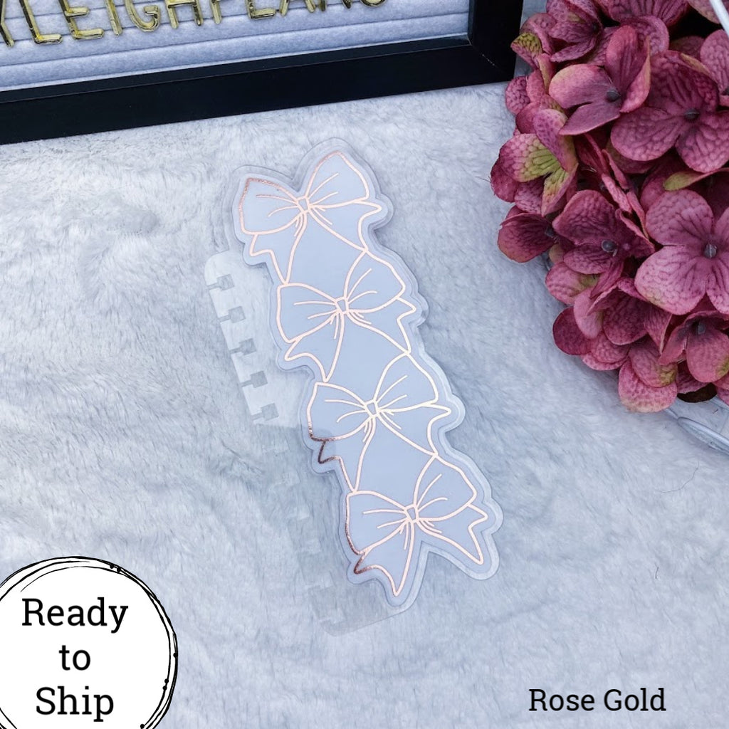 Twin Wire Bound Rose Gold Stacked Bow Planner Tab - Ready to Ship