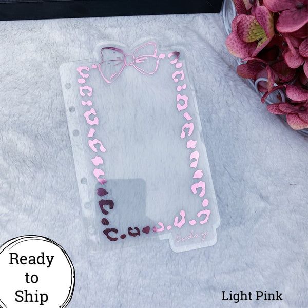 A6 Rings Light Pink Leopard Print Bow Dashboard - Ready to Ship