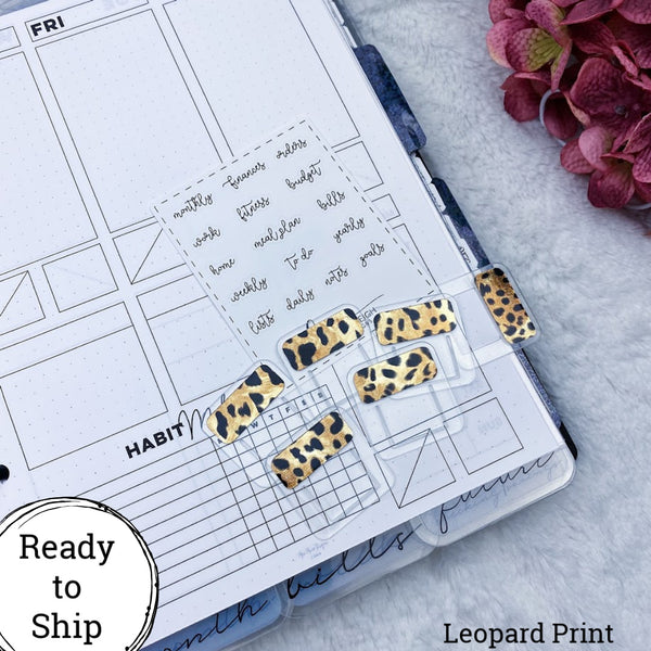 Set of 6 Mini Leopard Print Foiled Planner Clip Style Tabs - Ready to Ship