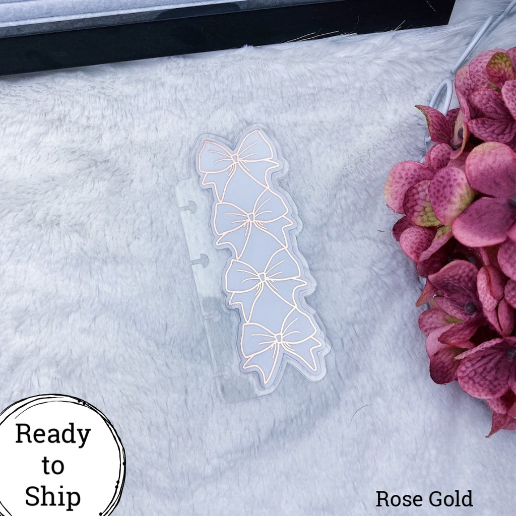 Micro Discs Rose Gold Stacked Bow Planner Tab - Ready to Ship