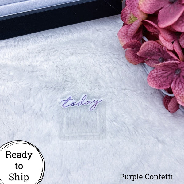 Purple Confetti Mini Today Planner Clip - Ready to Ship