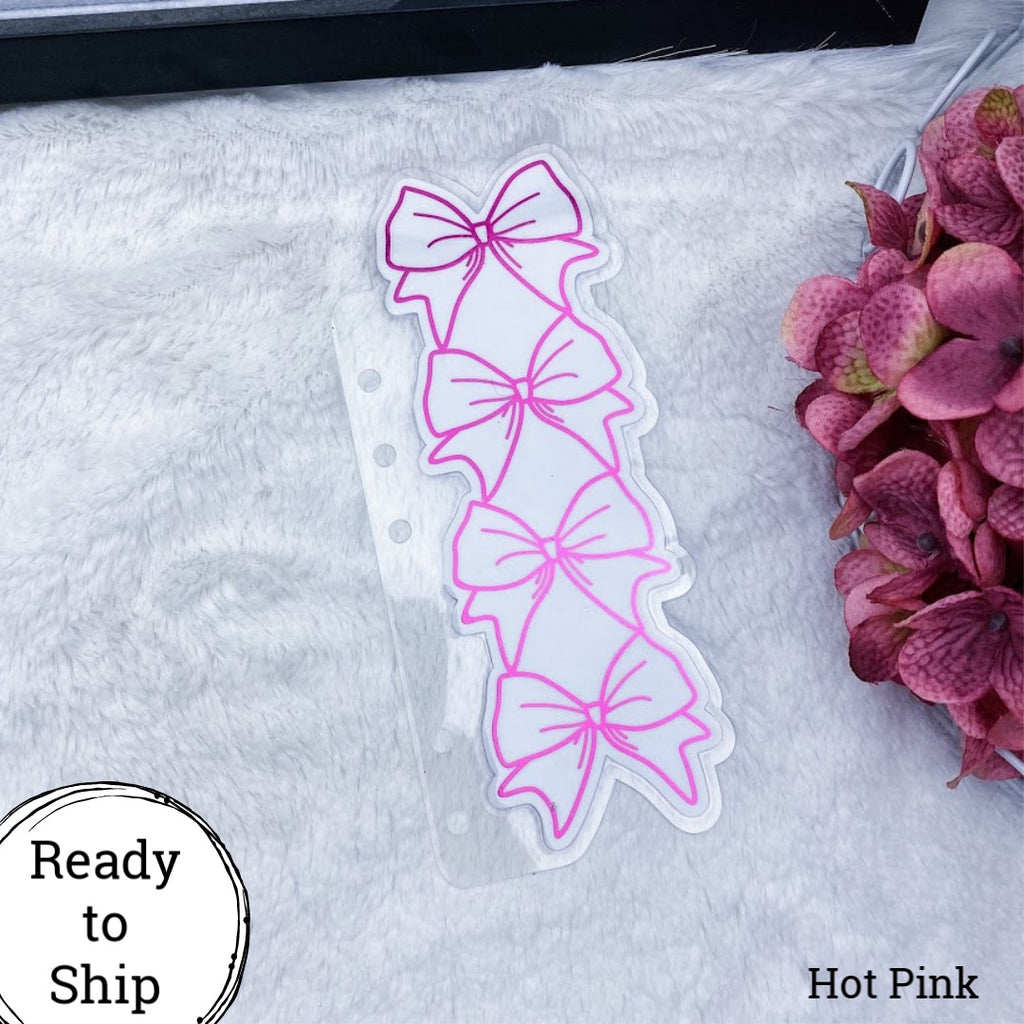 Personal Rings Hot Pink Stacked Bow Tab - Ready to Ship