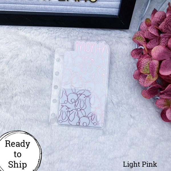 Pocket Rings Light Pink Bunnies Month Tab - Ready to Ship