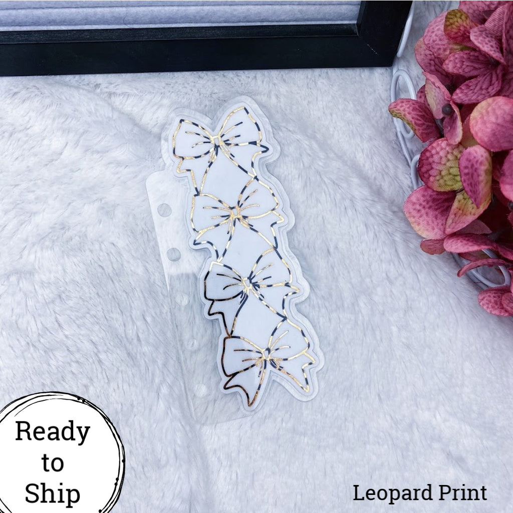 Pocket Rings Leopard Print Stacked Bow Tab - Ready to Ship