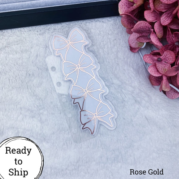 Pocket Rings Rose Gold Stacked Bow Tab - Ready to Ship