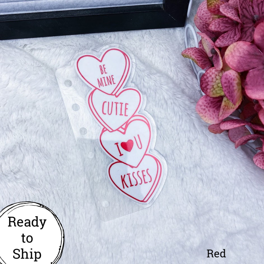 Pocket Rings Red Stacked Conversation Hearts Tab - Ready to Ship