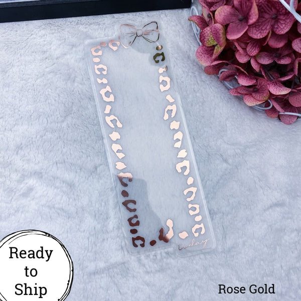 Standard TN Rose Gold Leopard Print Bow Dashboard - Ready to Ship