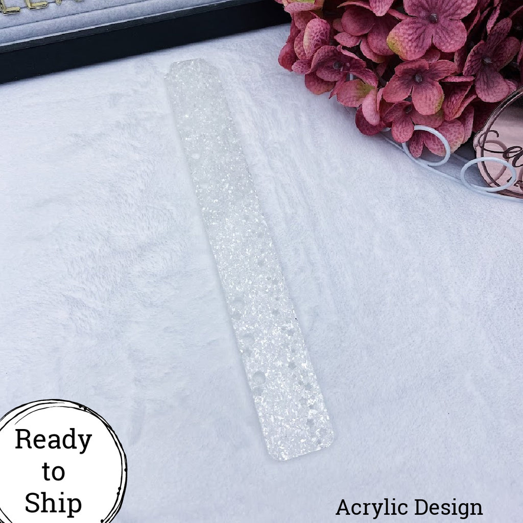 White Glitter Large Stars Planner Tail Holder - Ready to Ship