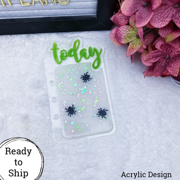 A5 Rings/A5 Wide Rings Acrylic Spider Confetti Today Tab - Ready to Ship