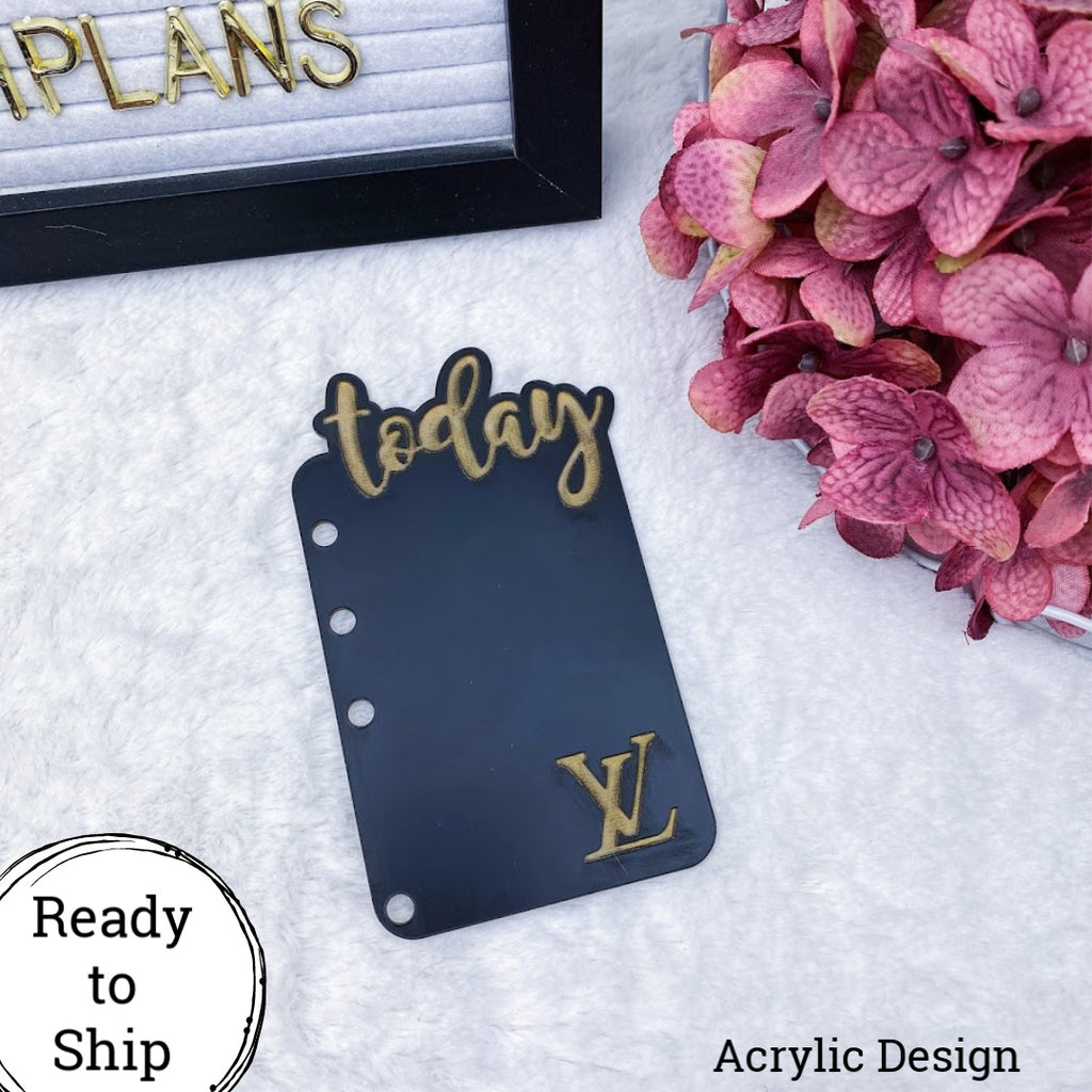 A6 Rings Acrylic Black & Gold LV Today Tab - Ready to Ship