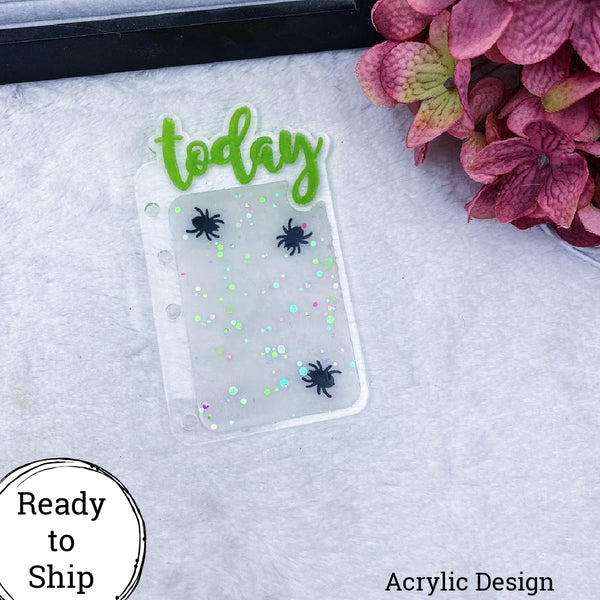 A6 Rings Acrylic Spider Confetti Today Tab - Ready to Ship