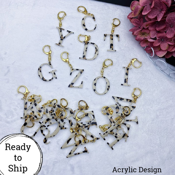 Leopard Print Letter Keychains - Ready to Ship