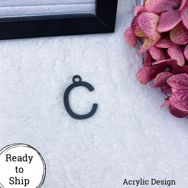Black Acrylic Letter C Charm - Ready to Ship