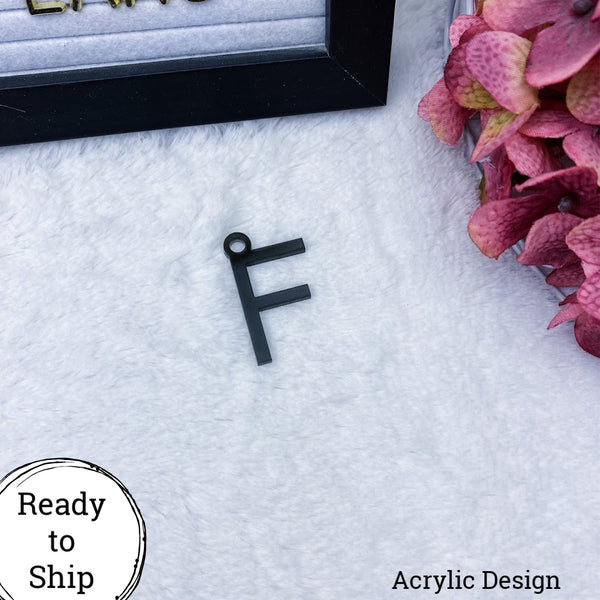 Black Acrylic Letter F Charm - Ready to Ship