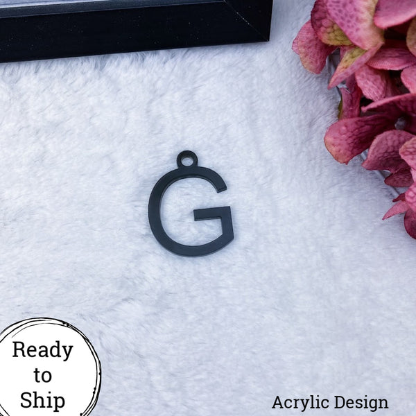 Black Acrylic Letter G Charm - Ready to Ship
