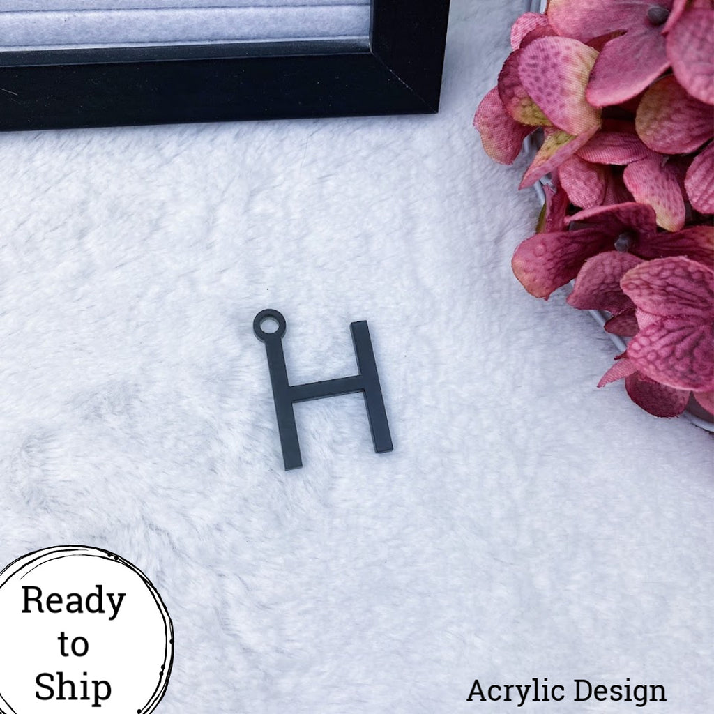 Black Acrylic Letter H Charm - Ready to Ship