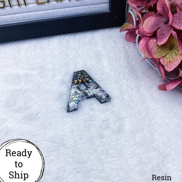 Resin Letter A Black with Silver Glitter & Foil - Ready to Ship