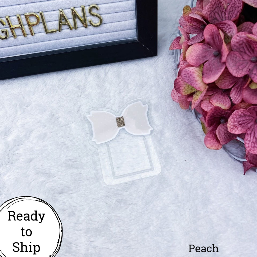 Peach Bow Planner Clip - Ready to Ship