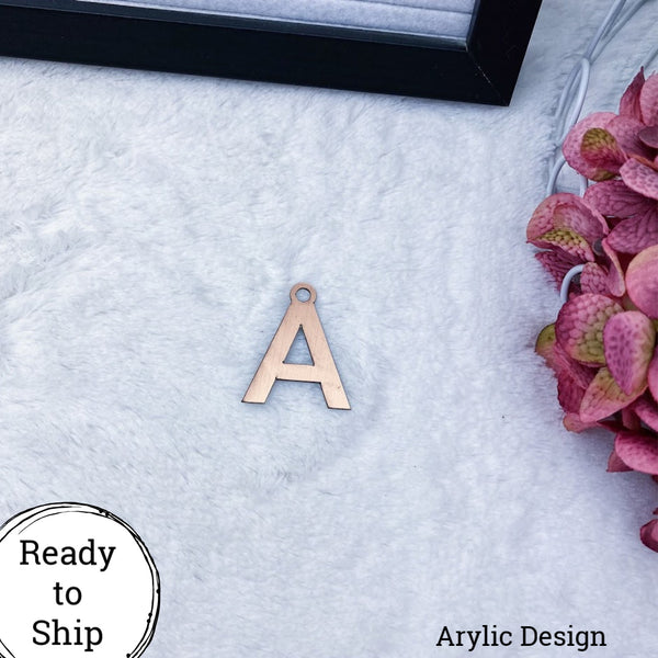 Brushed Rose Gold Acrylic Letter A Charm - Ready to Ship