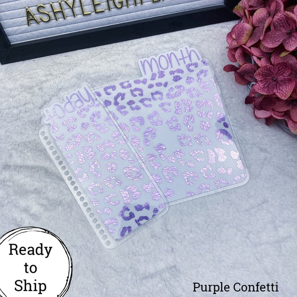 Erin Condren Purple Confetti Leopard Print Planner Tab Set - Ready to Ship
