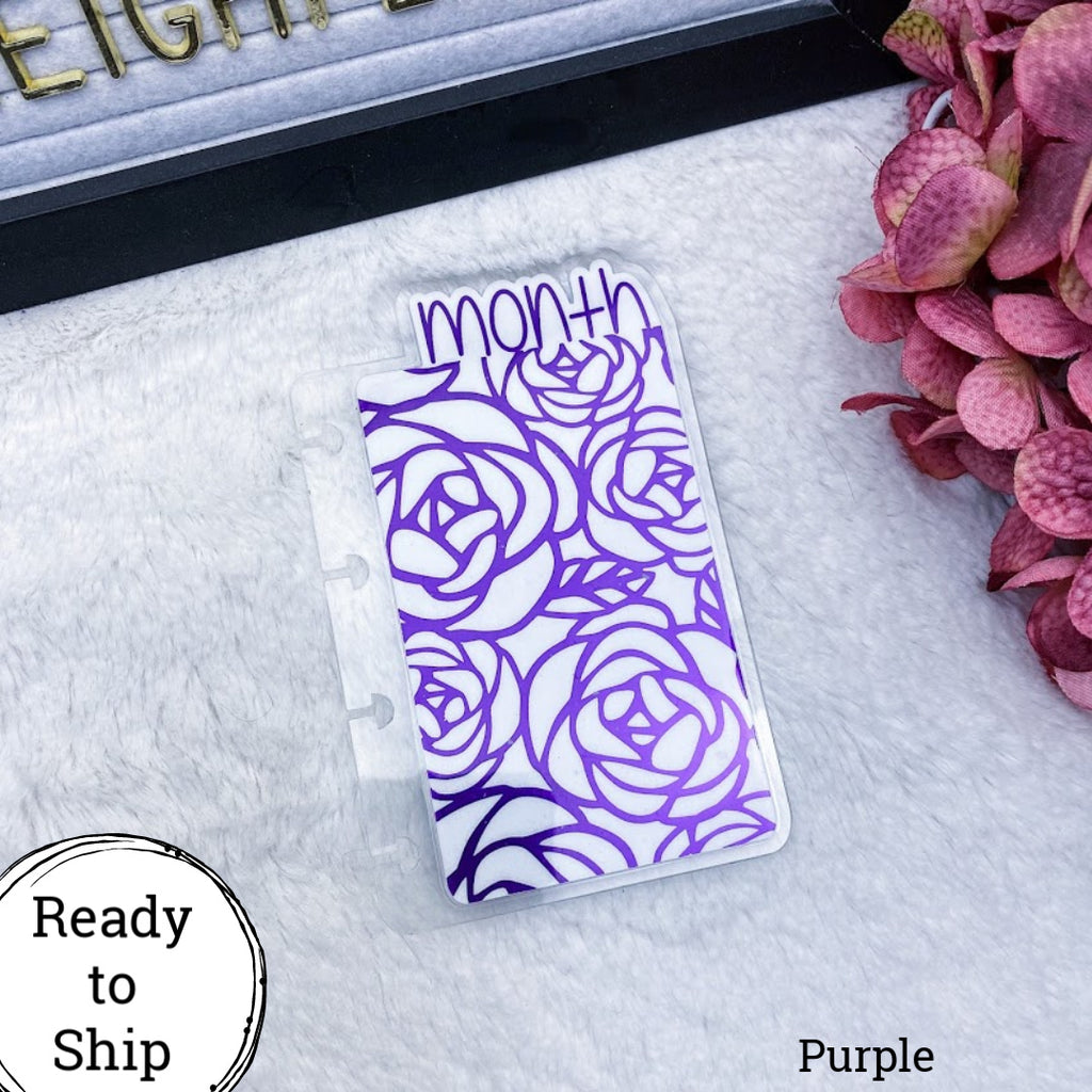 Micro Discs Purple Roses Month Tab - Ready to Ship