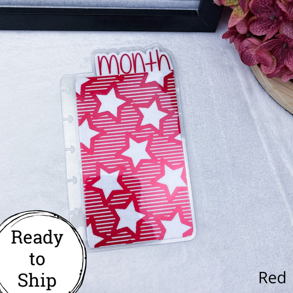 Mini Discs Red Stars & Stripes Month Tab - Ready to Ship