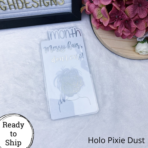 A6 TN Holo Pixie Dust Messy Hair, Don't Care Month Tab - Ready to Ship