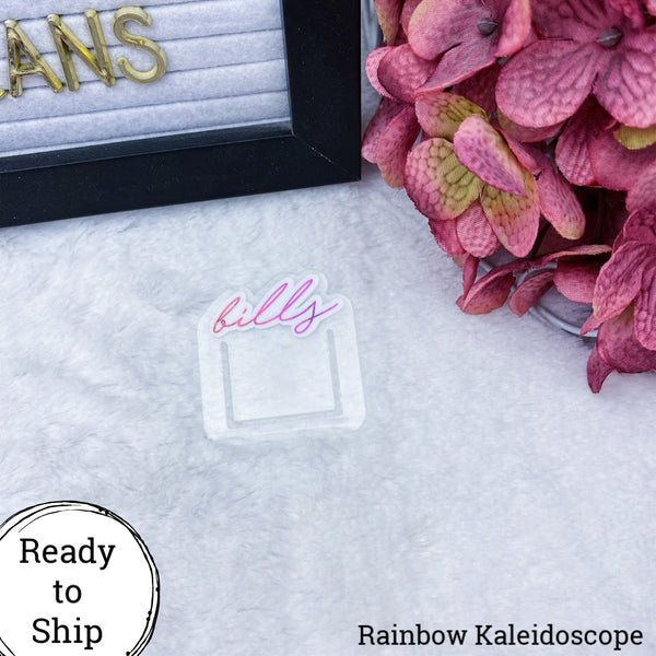 Orange/Pink Kaleidoscope Mini Bills Planner Clip - Ready to Ship