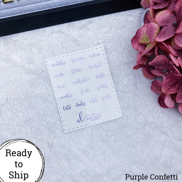 Purple Confetti Foiled Clear Mini Heading Stickers - Cursive - Ready to Ship