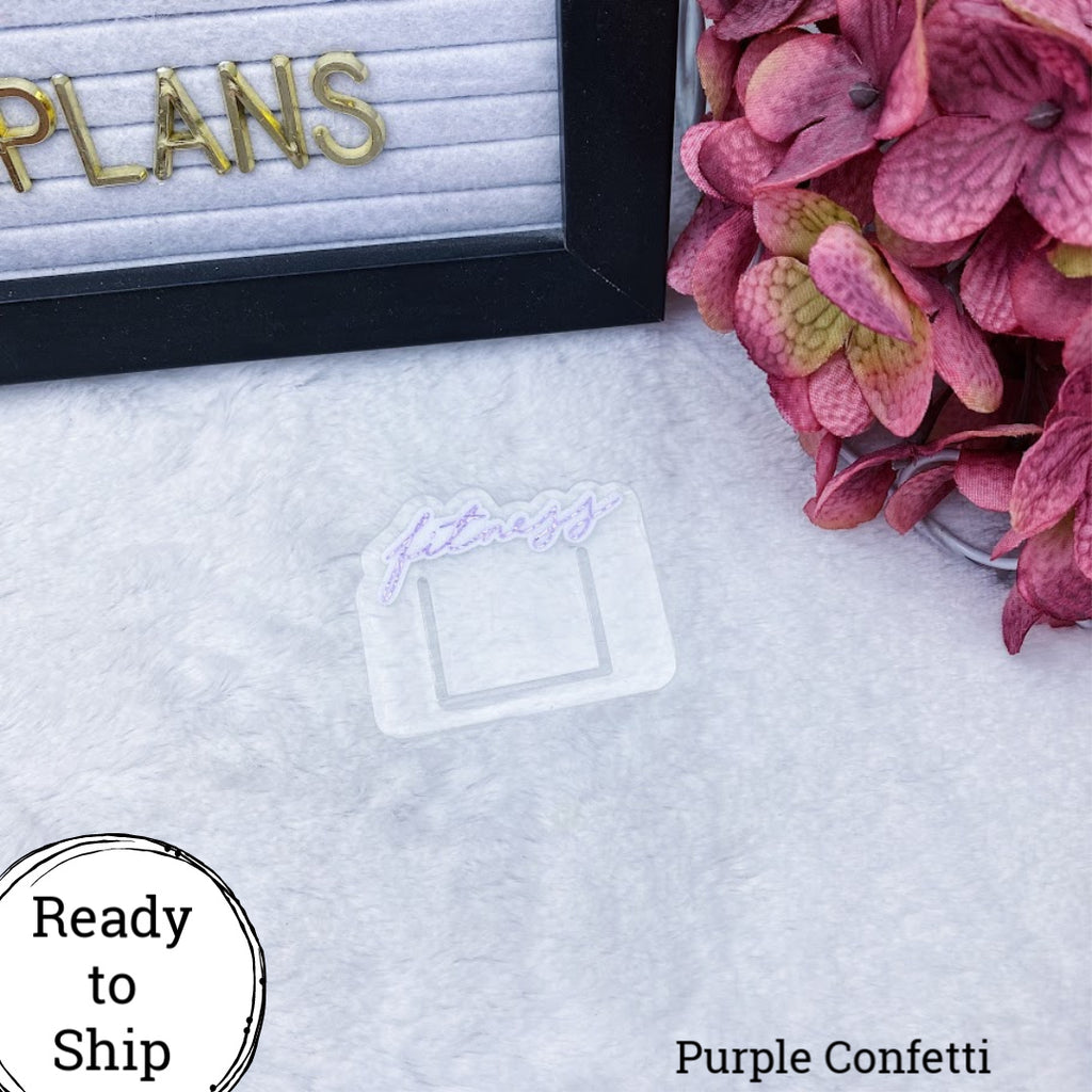 Purple Confetti Mini Fitness Planner Clip - Ready to Ship