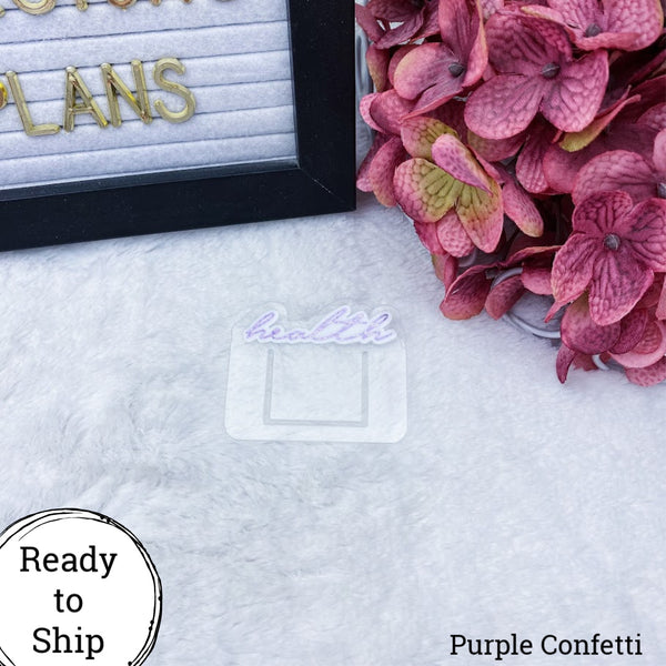 Mini Purple Confetti Health Planner Clip - Ready to Ship