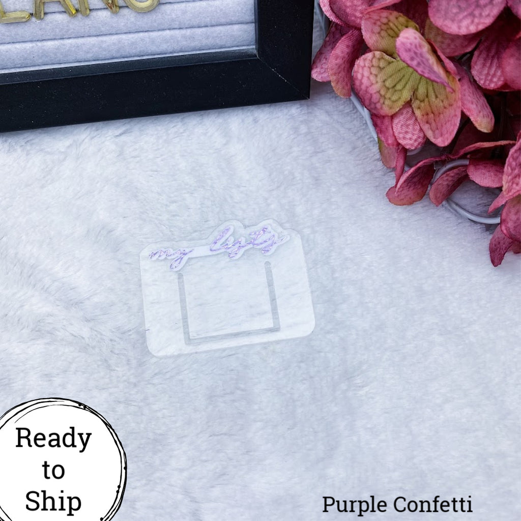 Purple Confetti Mini My Lists Planner Clip - Ready to Ship