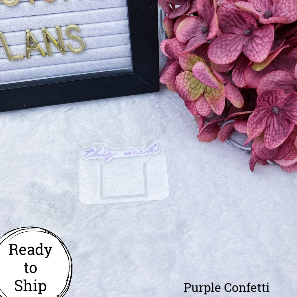 Purple Confetti Mini This Week Planner Clip - Ready to Ship