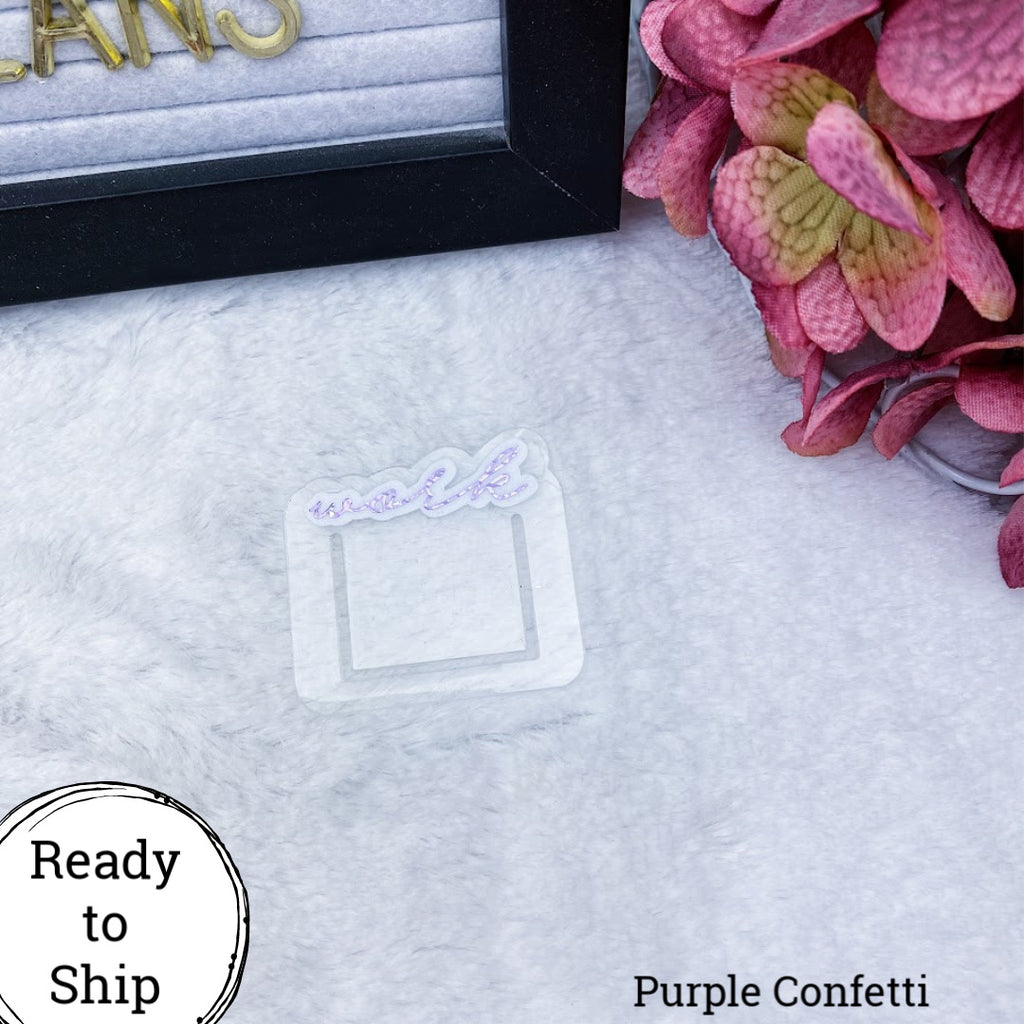 Purple Confetti Mini Work Planner Clip - Ready to Ship