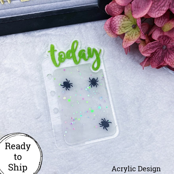 Personal Rings/Personal Wide Rings/B6 Rings Acrylic Spider Confetti Today Tab - Ready to Ship