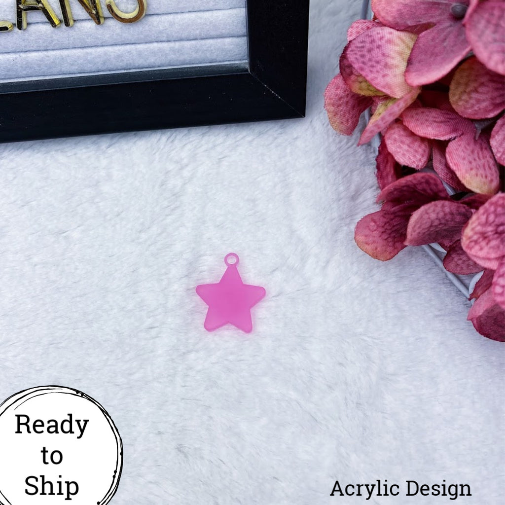 Pink Acrylic Star Charm - Ready to Ship