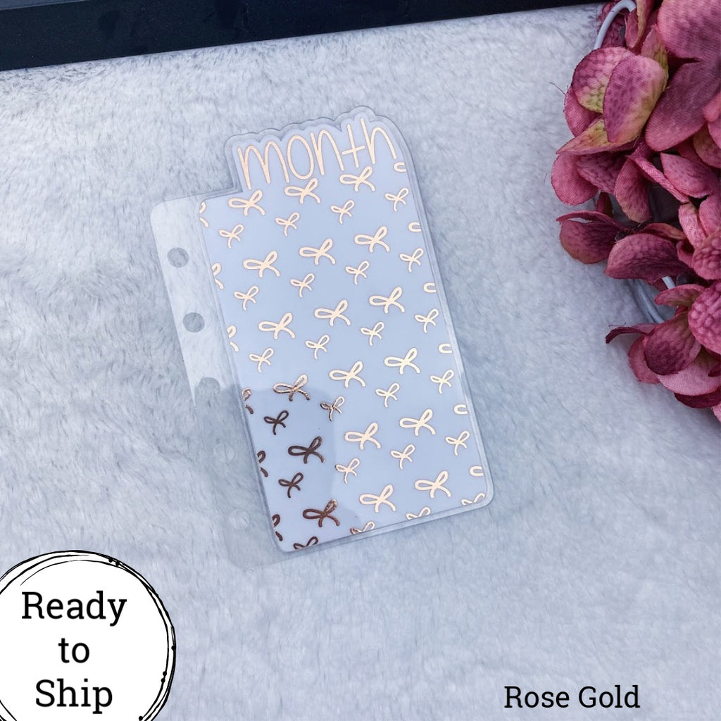 Pocket Rings Rose Gold Bows Month Tab - Ready to Ship