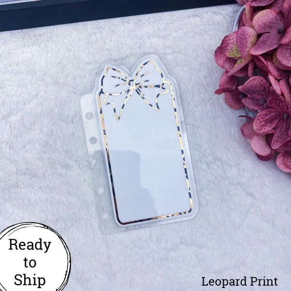 Pocket Rings Leopard Print Center Bow Tab - Ready to Ship