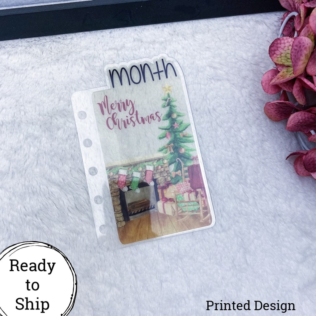 Pocket Rings Merry Christmas Tree Month Tab - Ready to Ship