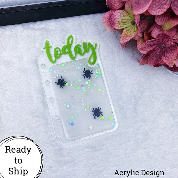 Pocket Rings Acrylic Spider Confetti Today Tab - Ready to Ship