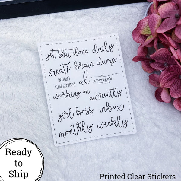 Clear Heading Stickers - Option 1 Cursive - Ready to Ship