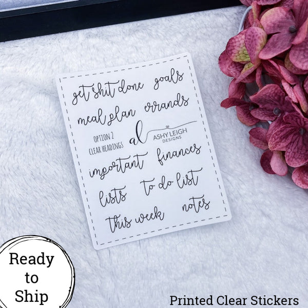 Clear Heading Stickers - Option 2 Cursive - Ready to Ship
