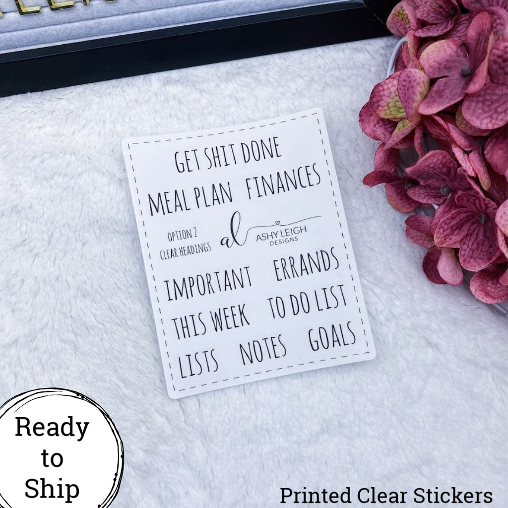Clear Heading Stickers - Option 2 Simple - Ready to Ship