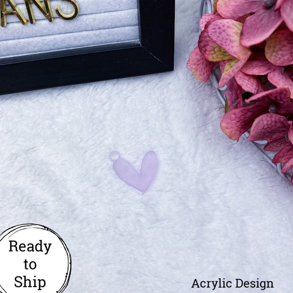 Purple Acrylic Heart Charm - Ready to Ship