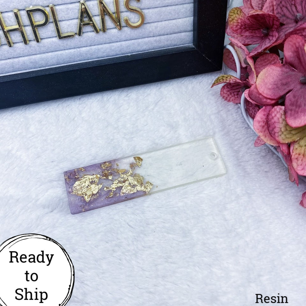 Resin Rectangle Key Chain Purple & Gold/Clear - Ready to Ship